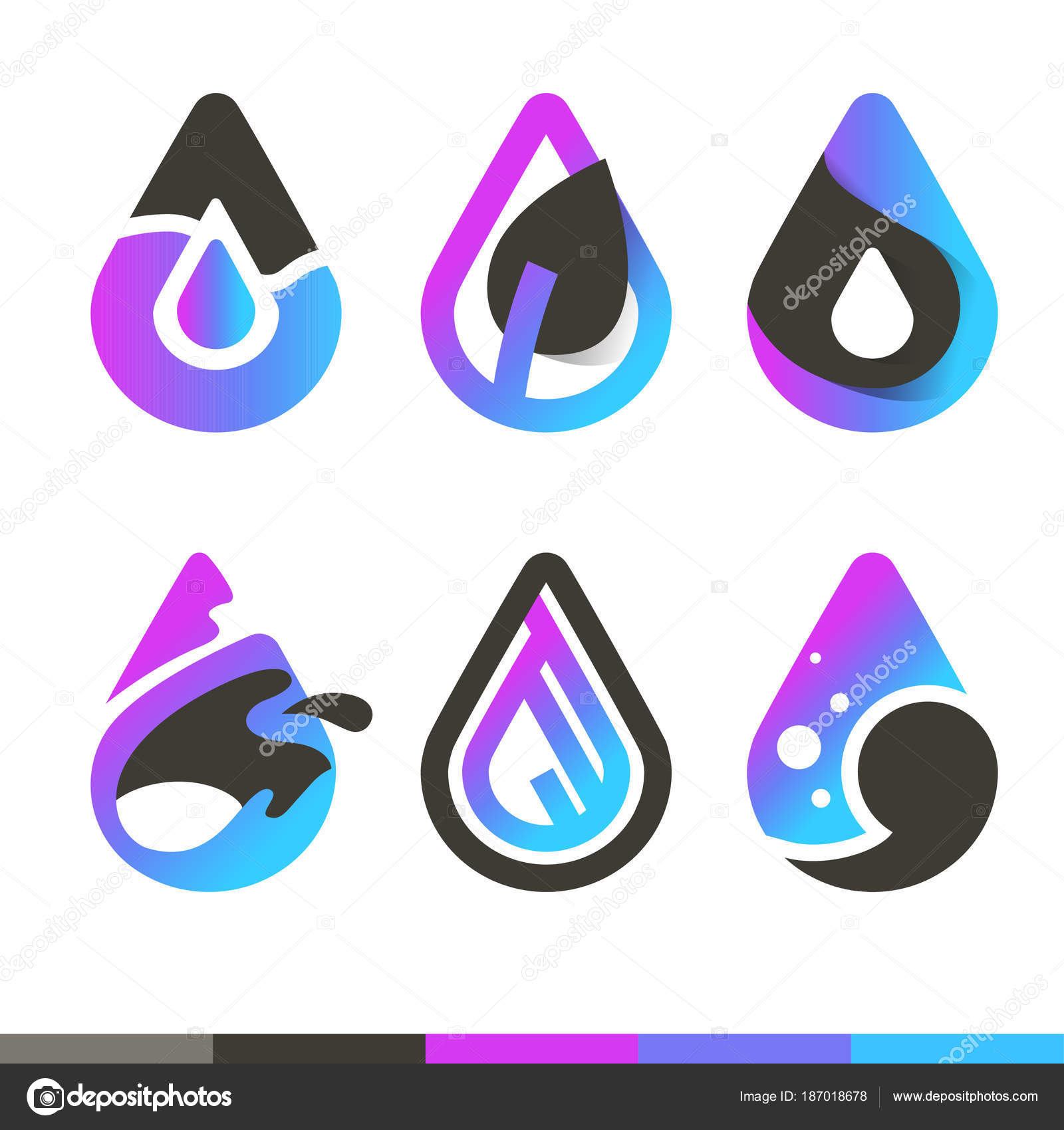 Gotas Agua Cool Vector Iconos Plantillas Logotipo — Archivo Imágenes ...
