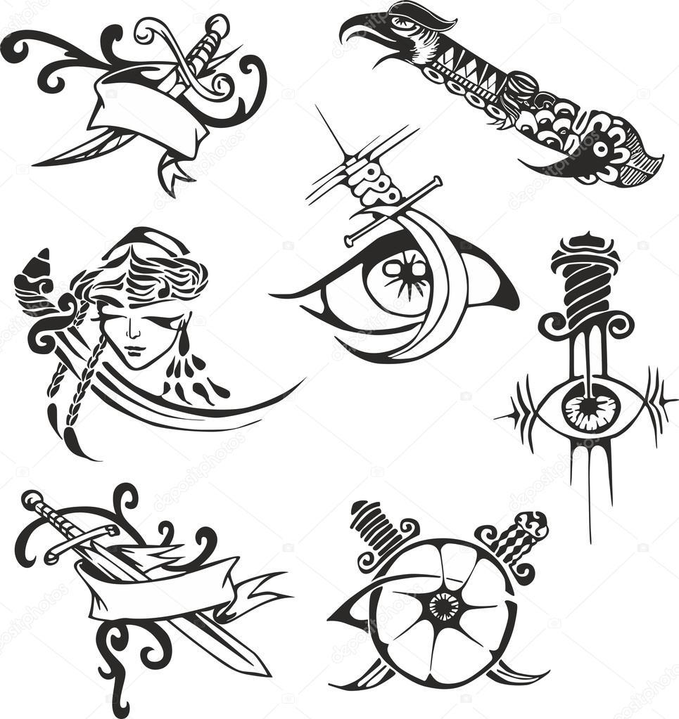 Conjunto de plantillas de tatuajes tribales con cuchillas — Archivo ...