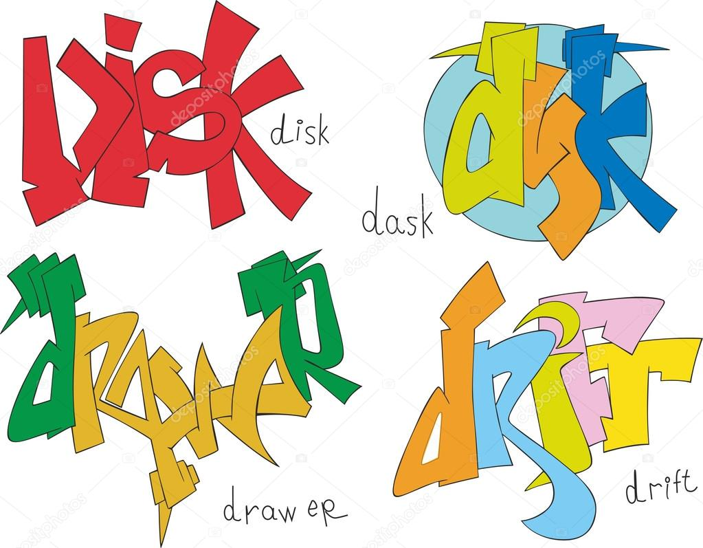 Set Of Four Graffiti Sketches Disk Dask Drawer And Drift Vector By Rorius