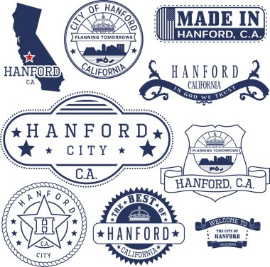 Hanford city, CA. Stamps and signs
