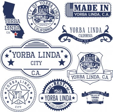 Yorba Linda city, CA. Stamps and signs