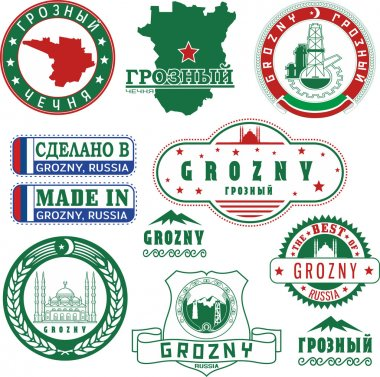 Grozny, Russia. Set of stamps and signs