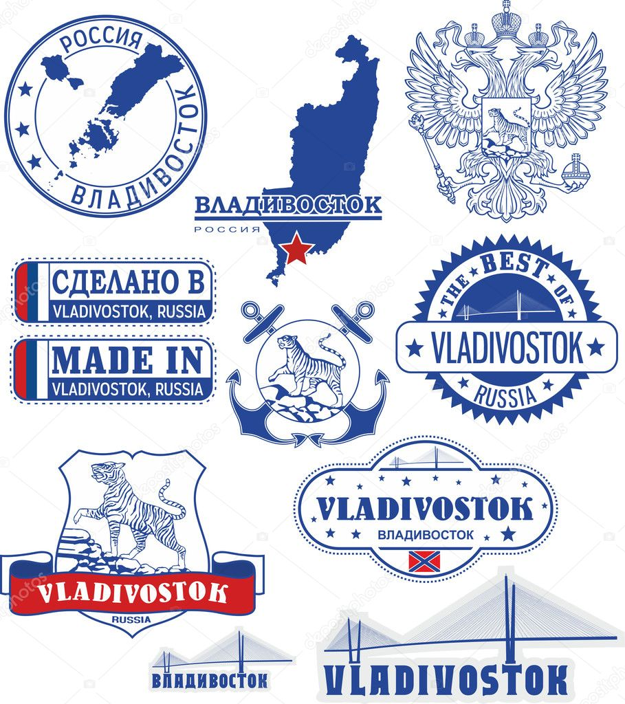 Vladivostok, Russia. Set of stamps and signs