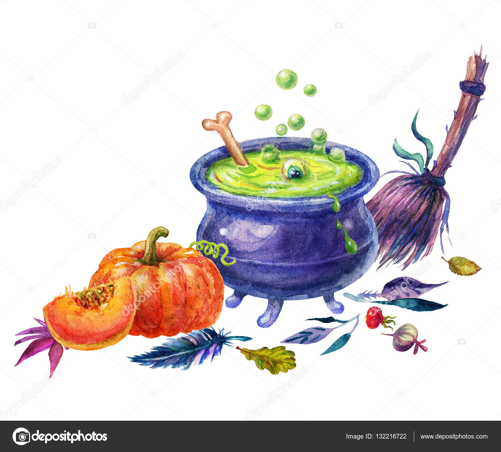 ハッピー ハロウィーン水彩装飾セットハロウィンのイラストかわいい
