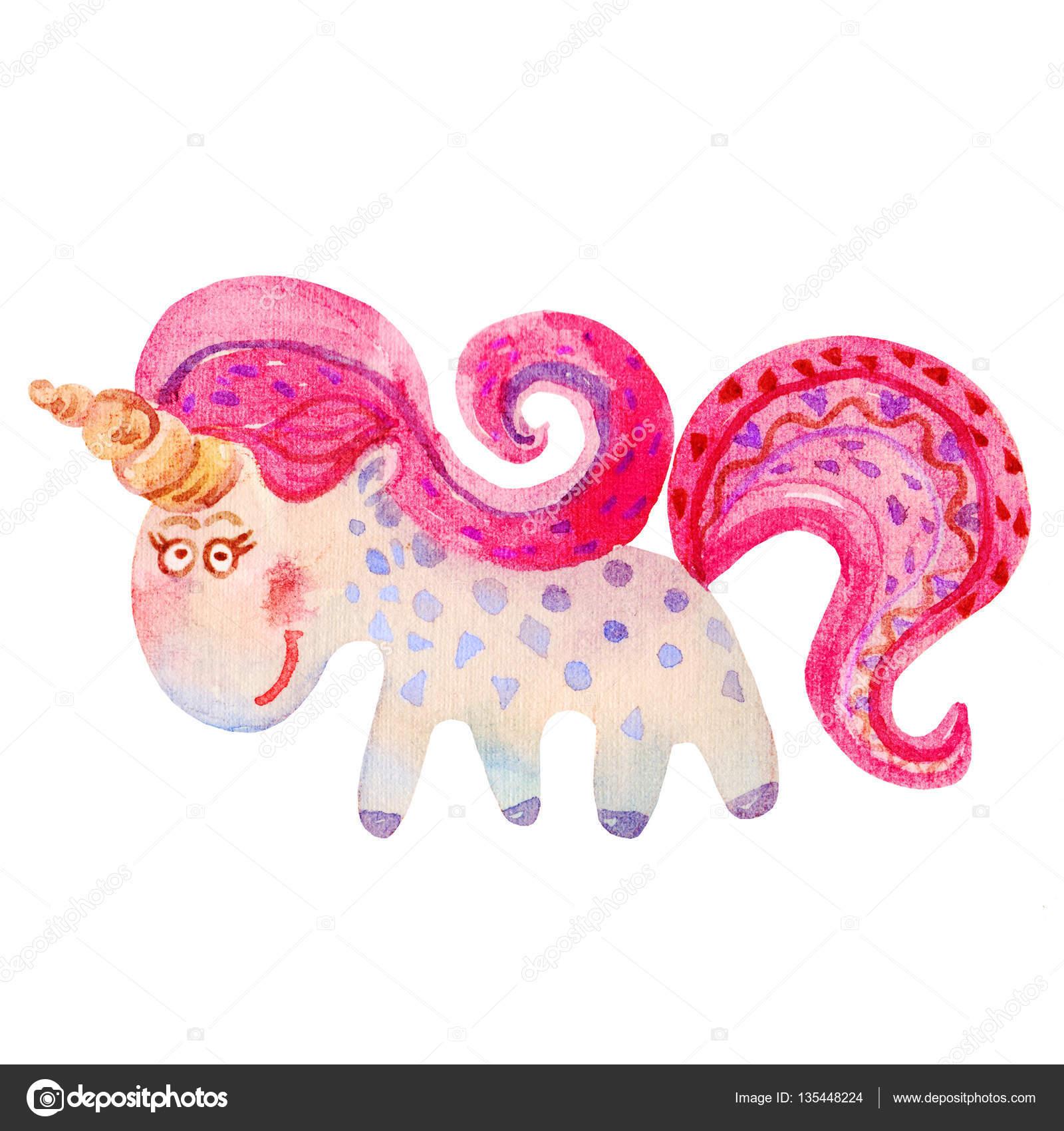 Suluboya El Boyama Pembe Magic Unicorn Karikatür çocuksu Stile