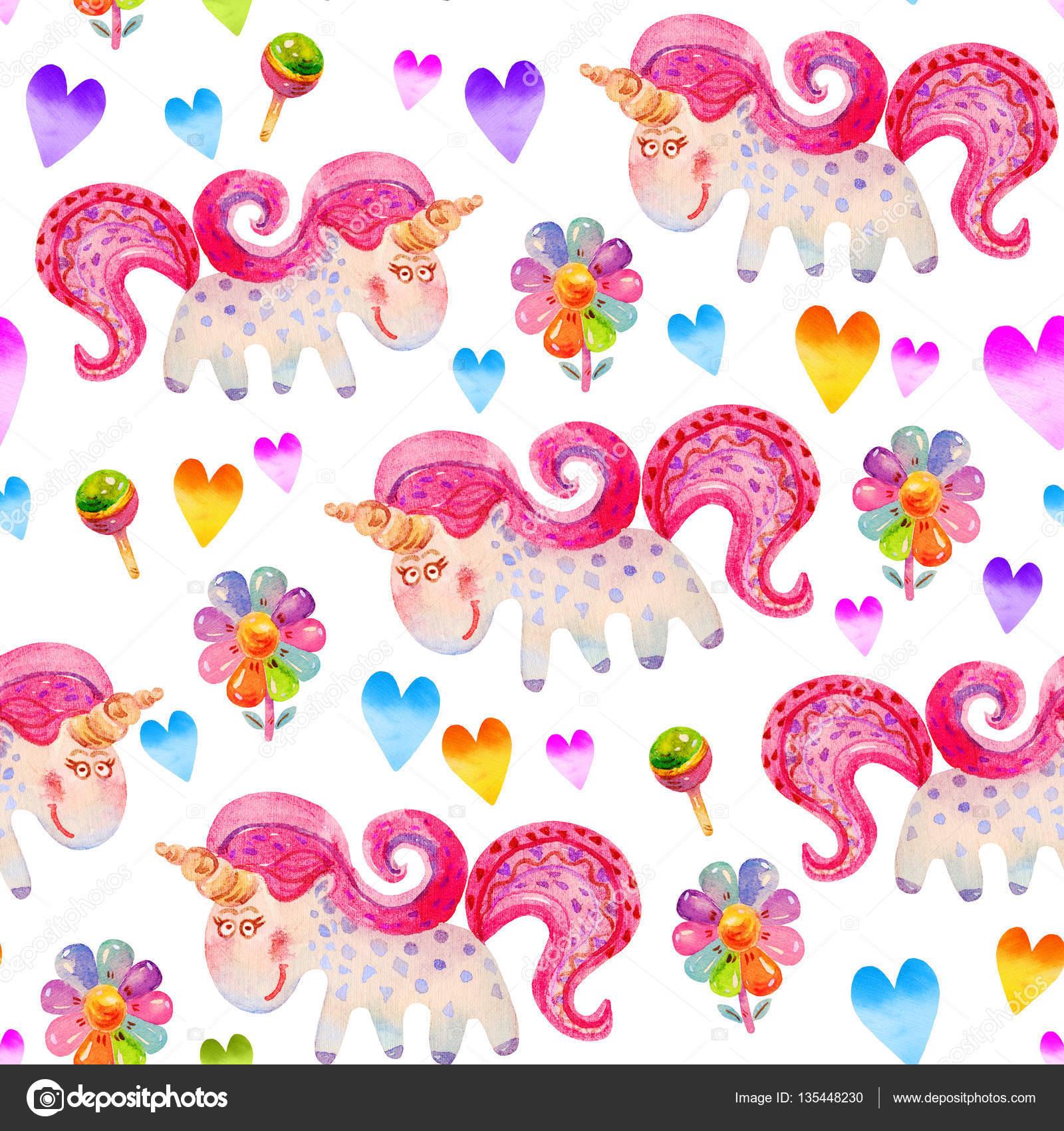 Seamless Pattern With Unicornslollipops Flowers Hearts In Cartoon Childish Style Watercolor