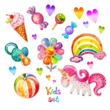 Colorful Watercolor kids set in cartoon childish toys stile of unicorn, pacifier, heart, ball, flower, candy, ice cream, rainbow icons. Hand drawing cute watercolor kids set icon illustration isolated on white background.