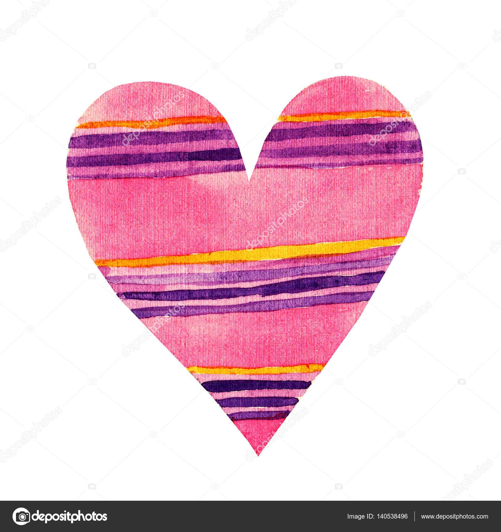 Schönen Cartoon Aquarell Liebe Herzen Valentines Muster. Buntes rosa ...