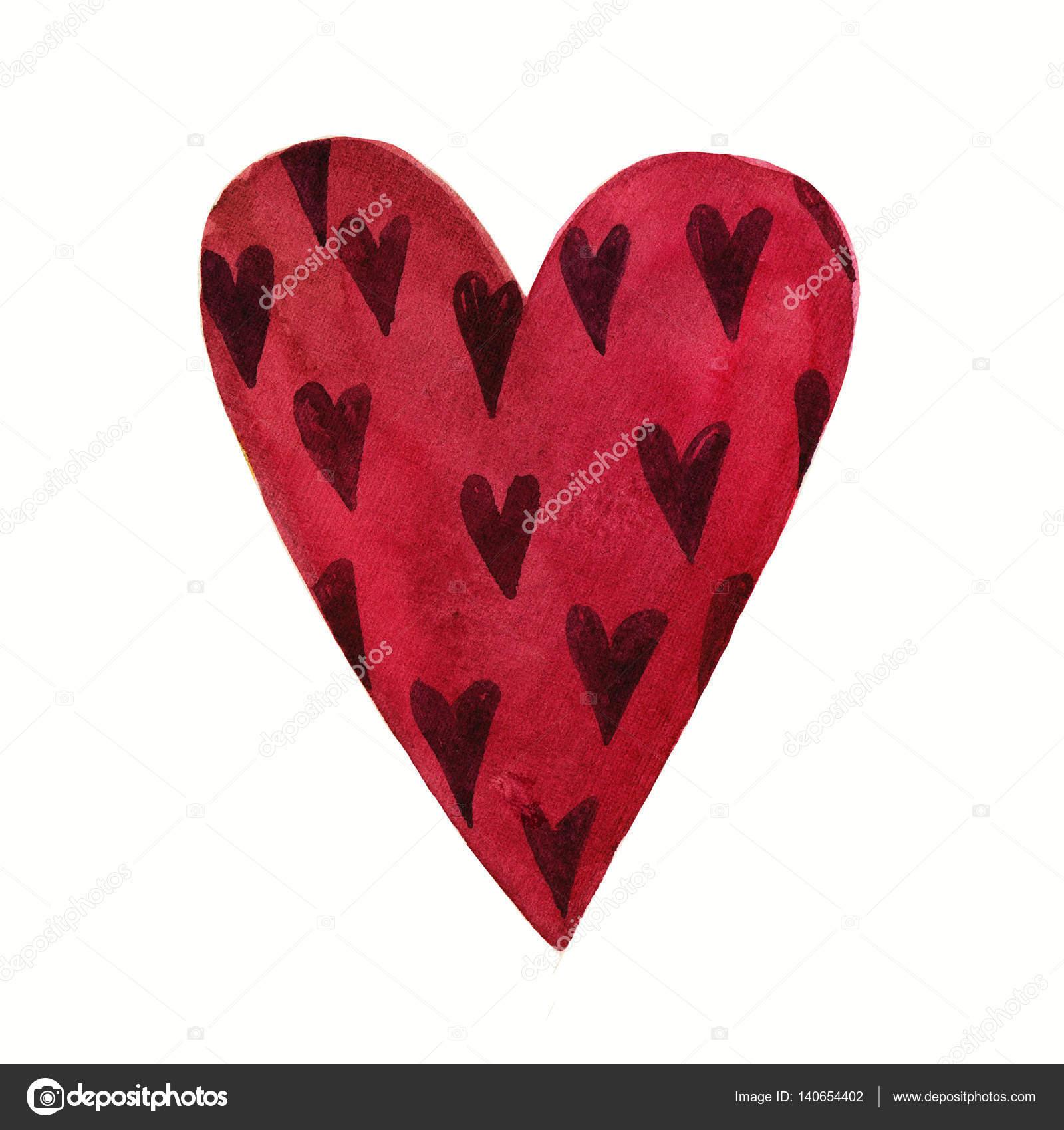 99dbe727f8ce30 Śliczny akwarela kreskówka miłość serce Walentynki wzór. Kolorowe  ilustracje Burgundii na białym tle. Idealne na wakacje Walentynki. Dobre  dla karty miłość, ...