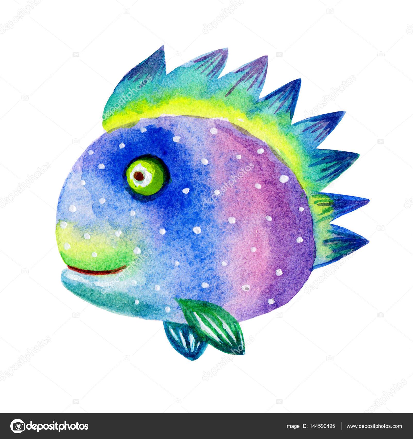 Illustrazioni di pesci colorati dell 39 acquerello del for Immagini di pesci disegnati