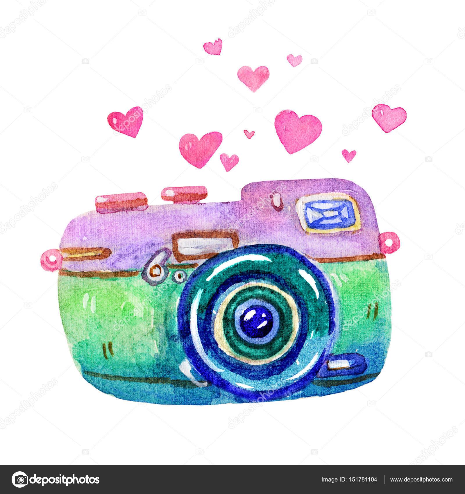 Cartoon Watercolor Vintage Photo Camera Illustration Isolated On White BackgroundRetro Film CameraPassion For PhotographyWatercolor Illustrationclip Art