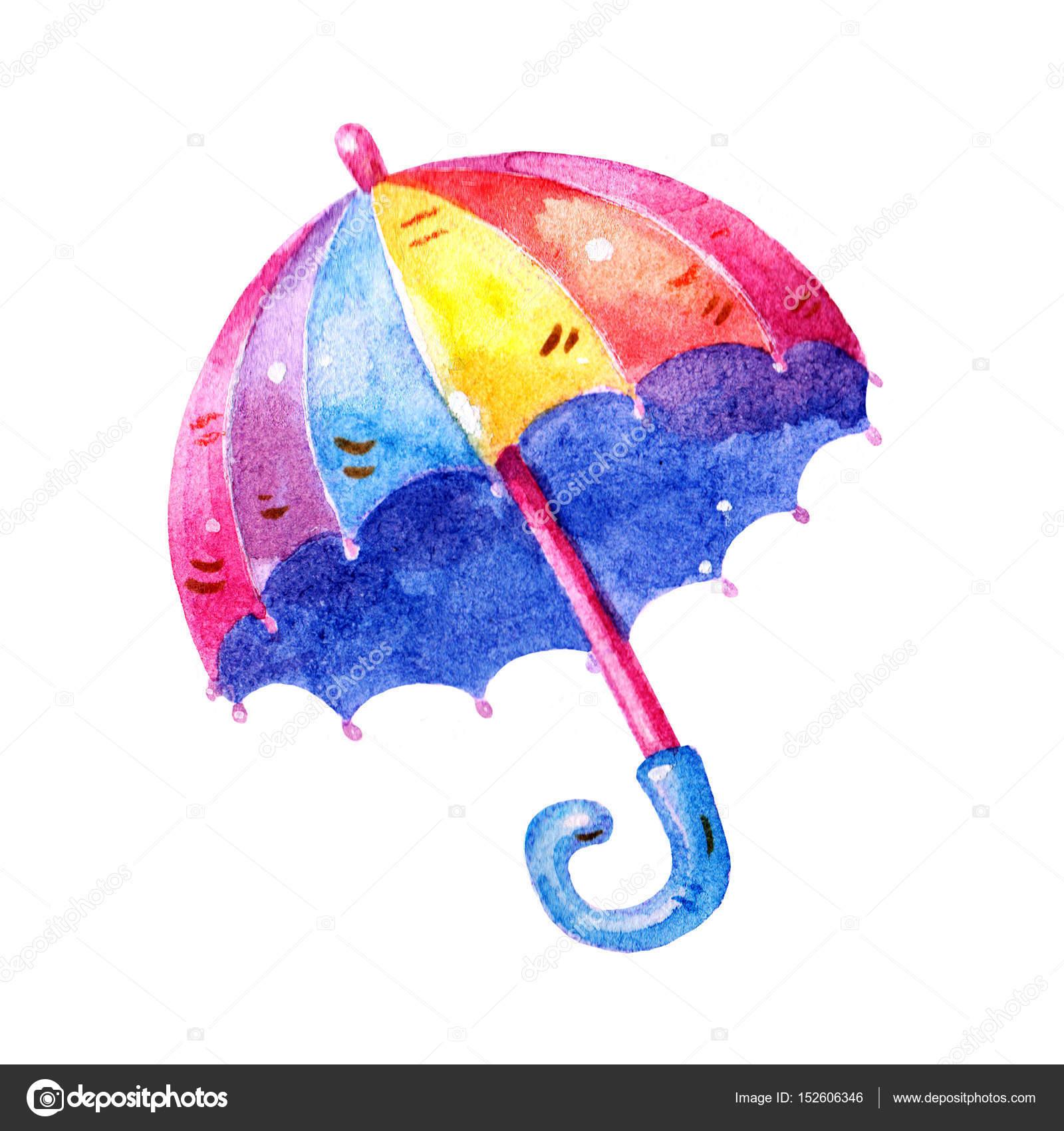 素敵なカラフルな水彩傘イラスト イラスト アイコンが白い背景で隔離