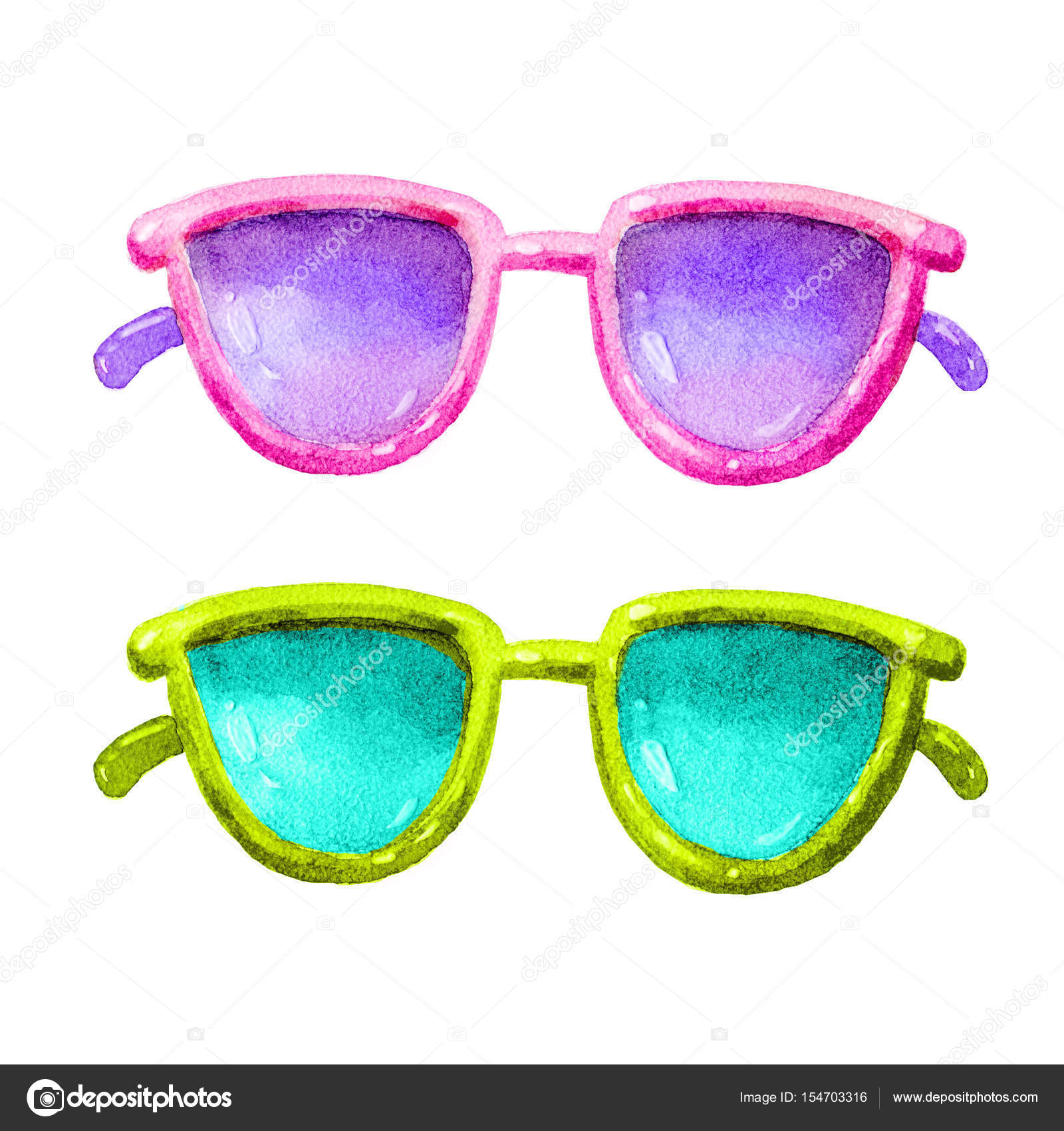 527b84cb307 Cute watercolor Glasses colorful set illustration. Glasses icon set  isolated. Glasses summer symbol. Glasses set for traveling design.– stock  image