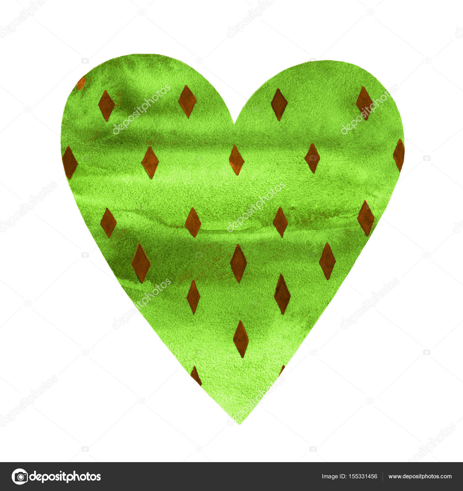 Cute Colorful watercolor green heart decorated with rhomb symbol ...