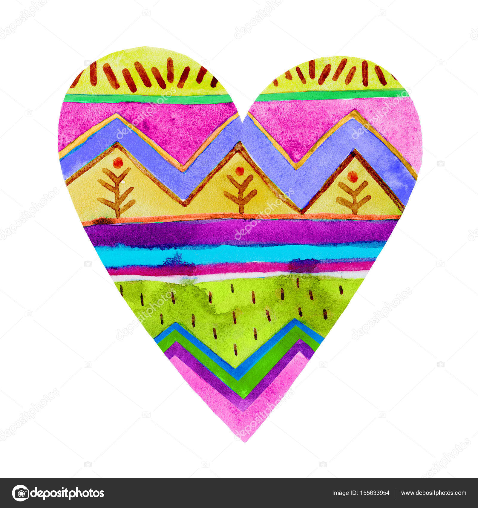 lovely cartoon watercolor love heart valentines patterncolorful heart with geometric print illustrations isolated on