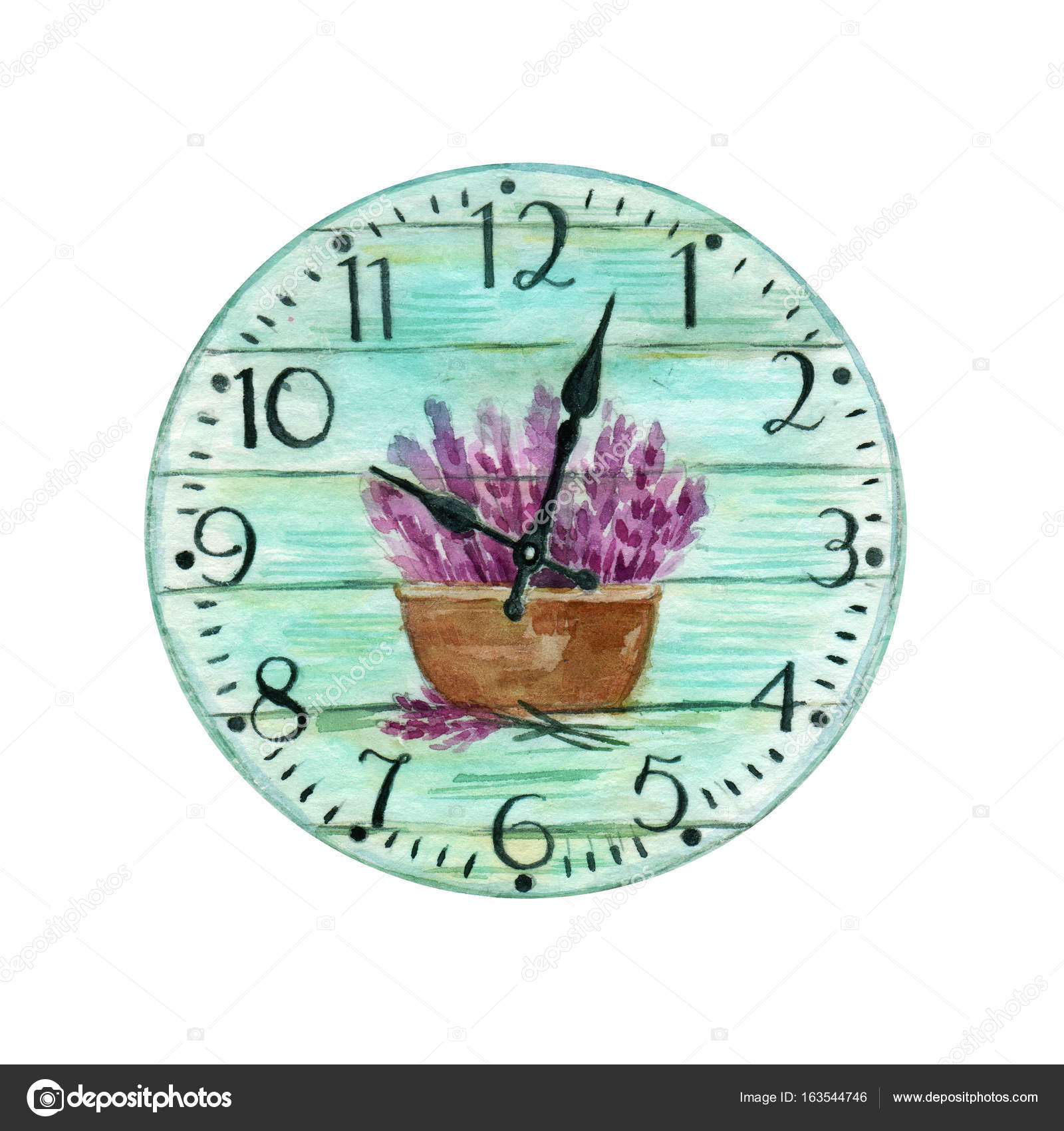 Colorful Watercolor Vintage Clock Turquoise Clock With A Picture