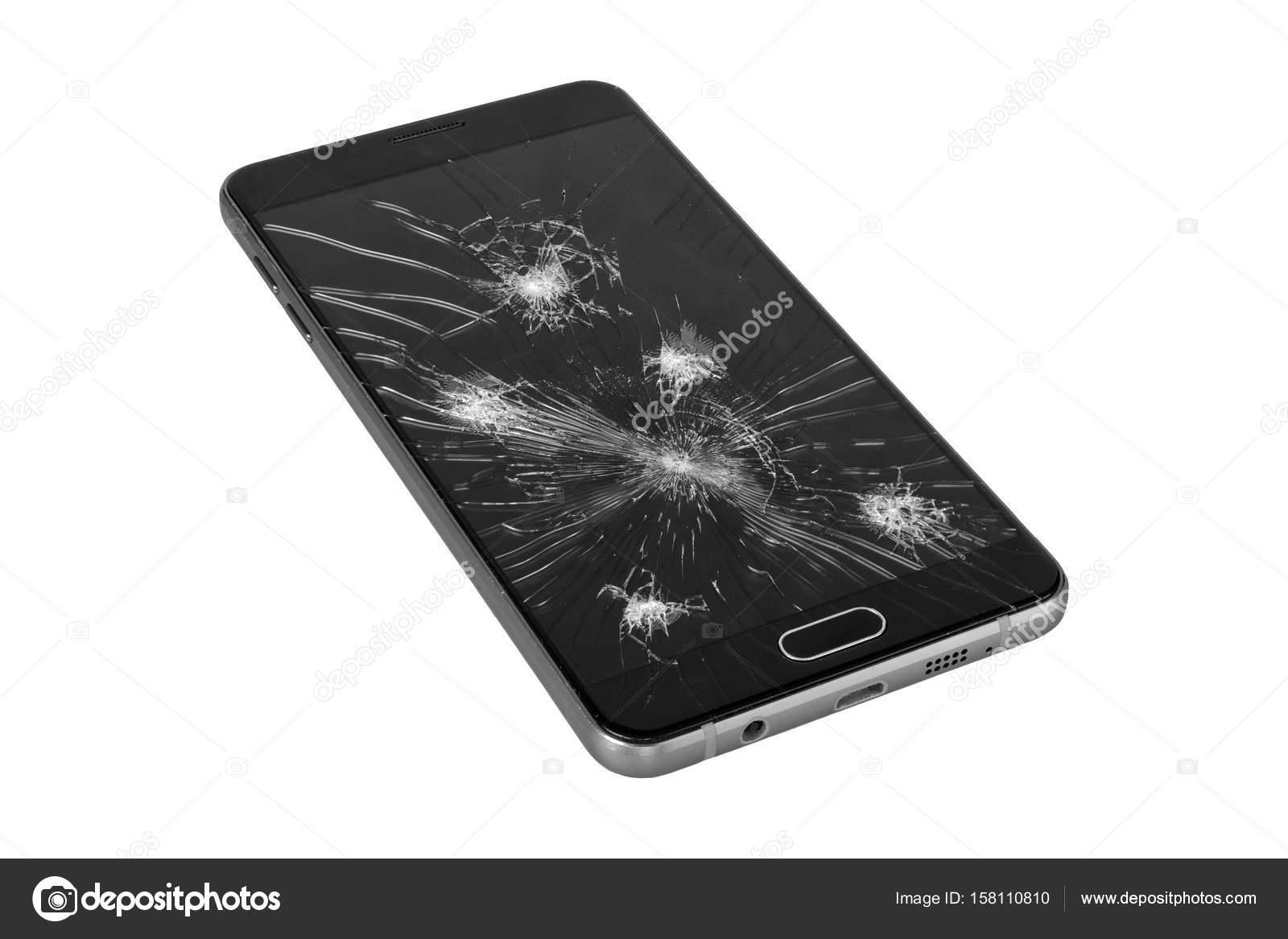 Smartphone Con Schermo Rotto Su Un Fondo Bianco Foto Stock Neryx