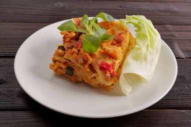 Lasagne with cauliflower on a table