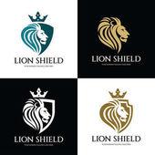 Lví štít šablona návrhu loga, Lví hlava logo, Element identita značky, vektorové ilustrace