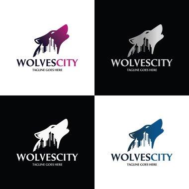 Wolf city logo design template Wolf logo ,,Vector illustration