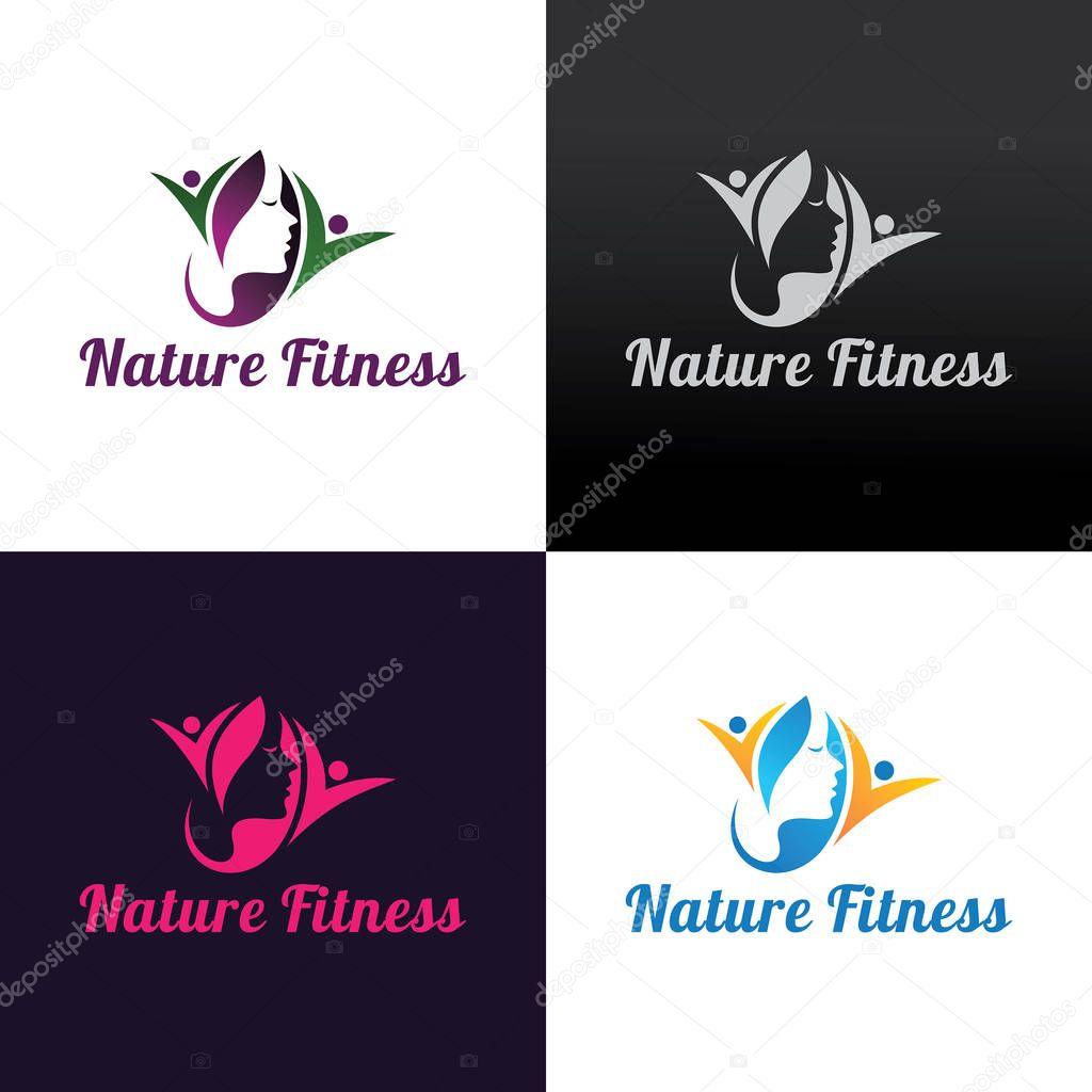 Nature fitness logo design template. Vector illustration