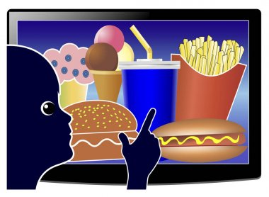 Screen Time affects Junk Food Consumption. Child develops bad eating habits while watching TV due to food advertisements targeted at kids