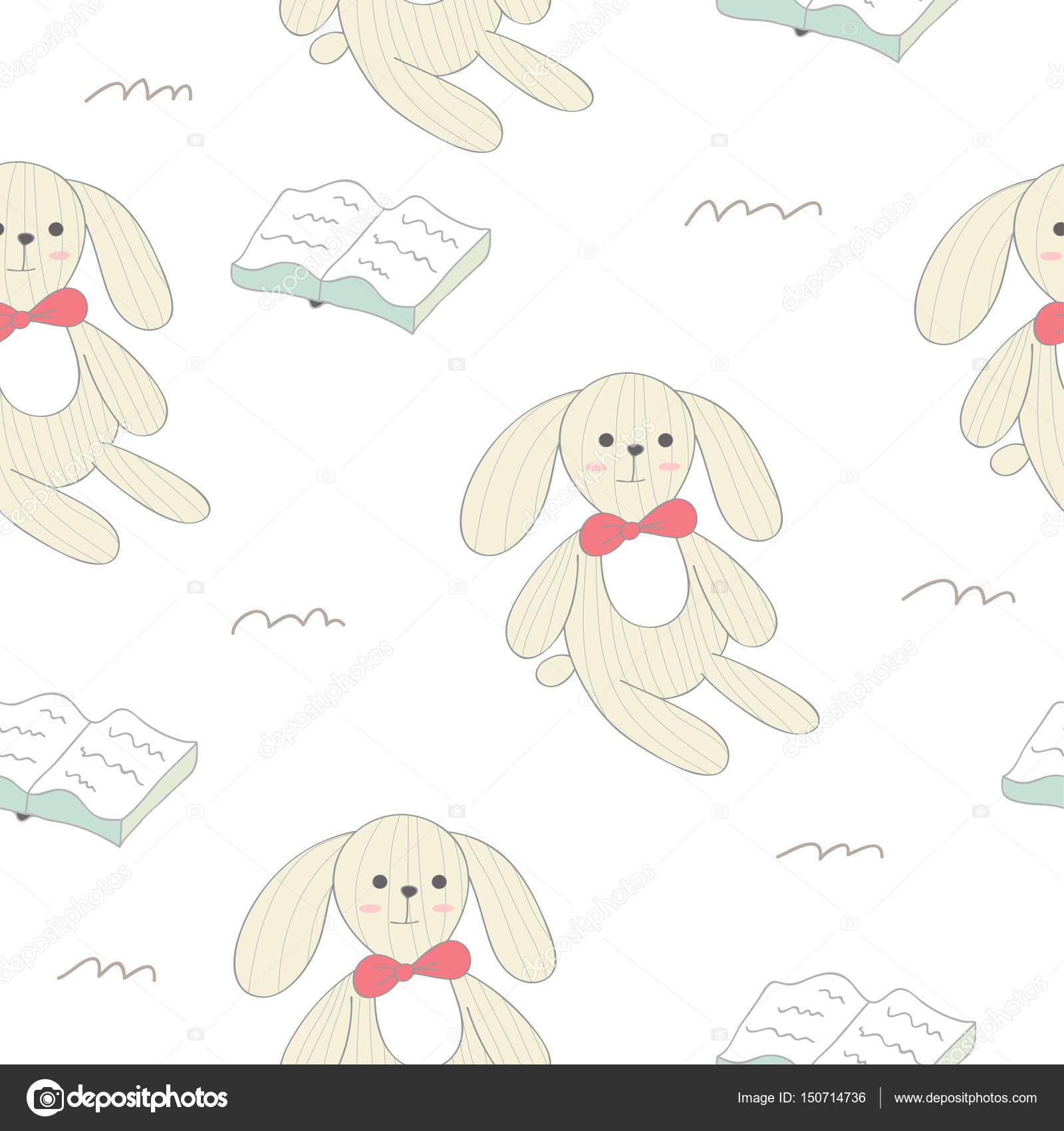 patrón sin costuras lindo conejo — Vector de stock © alinkaya #150714736
