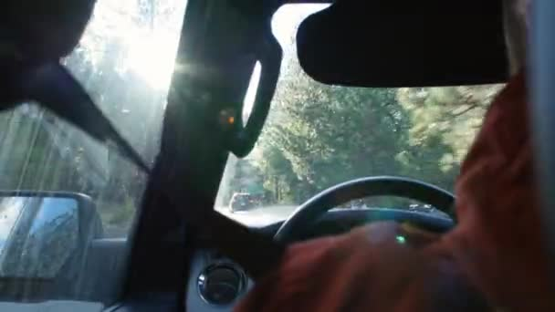 Driving into sunlight on a rural road