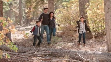 Happy Hispanic Family Walking In Forest Royalty Free Stock Footage