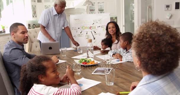 Reunión Familiar Para Hablar De Las Tareas Del Hogar Vídeo De