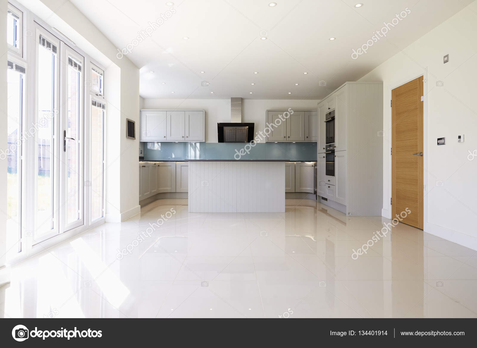 Empty Kitchen In Modern House Stock Photo