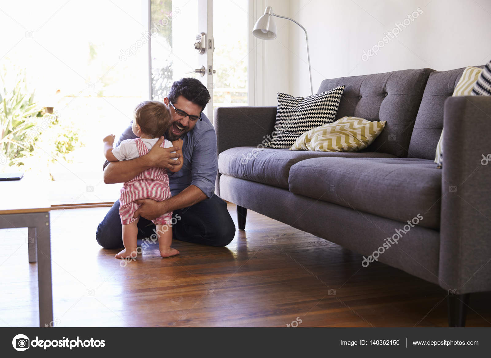 Parent Watching Baby First Steps U2014 Stock Photo