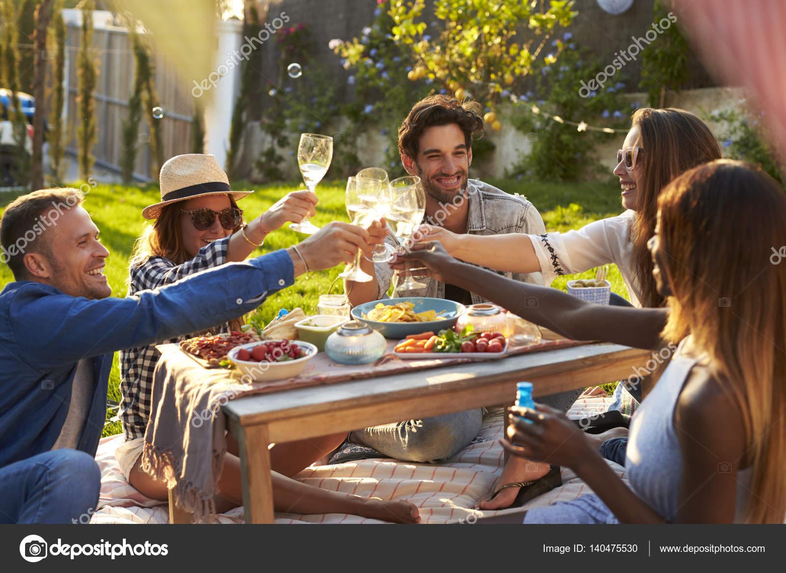 friends enjoying picnic in backyard u2014 stock photo monkeybusiness