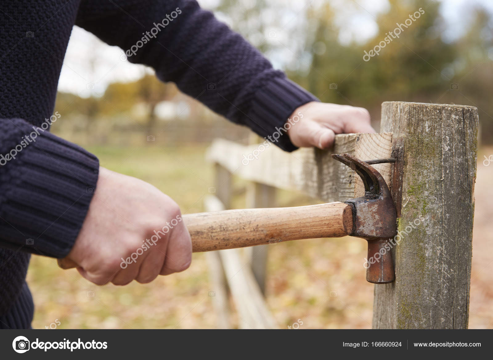 Mann Aus Zaun Nagel Entfernen Stockfoto C Monkeybusiness 166660924