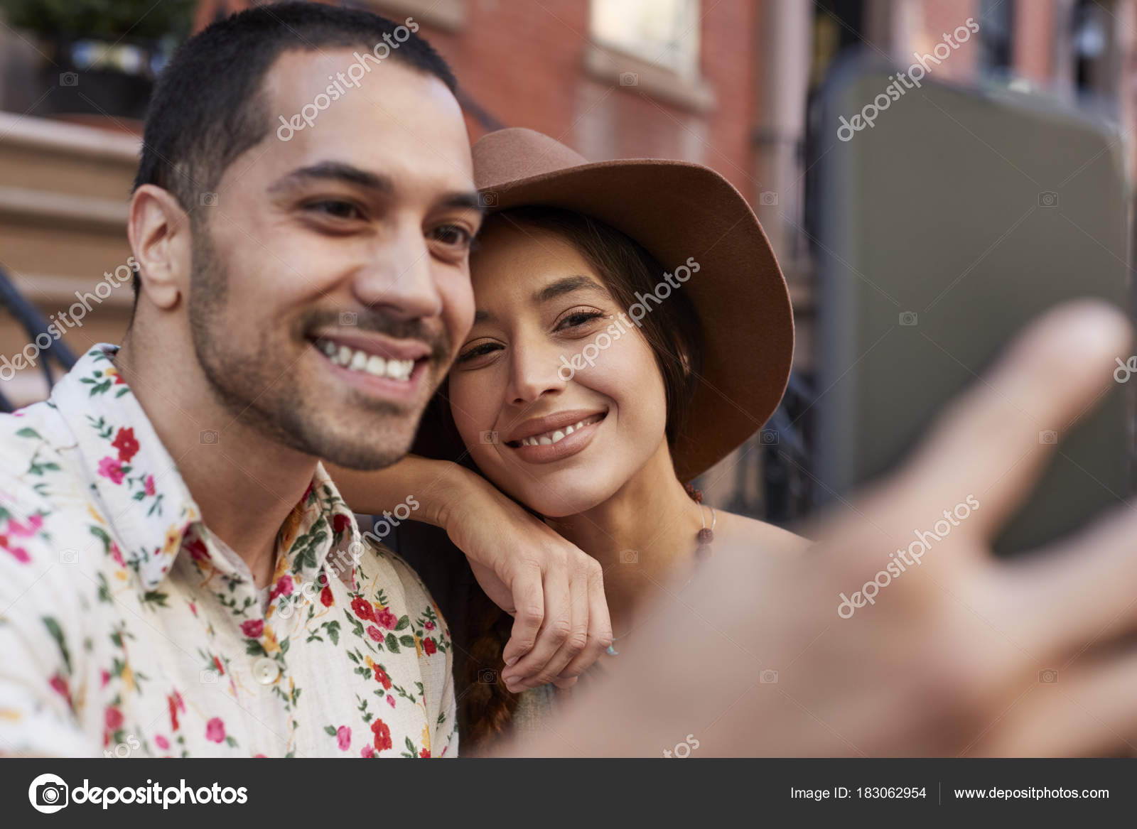Couple Posing For Selfie On Street In New York City Photo By Monkeybusiness