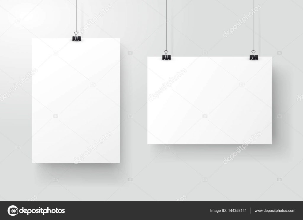 white posters hanging on binder grey wall with mock up empty paper
