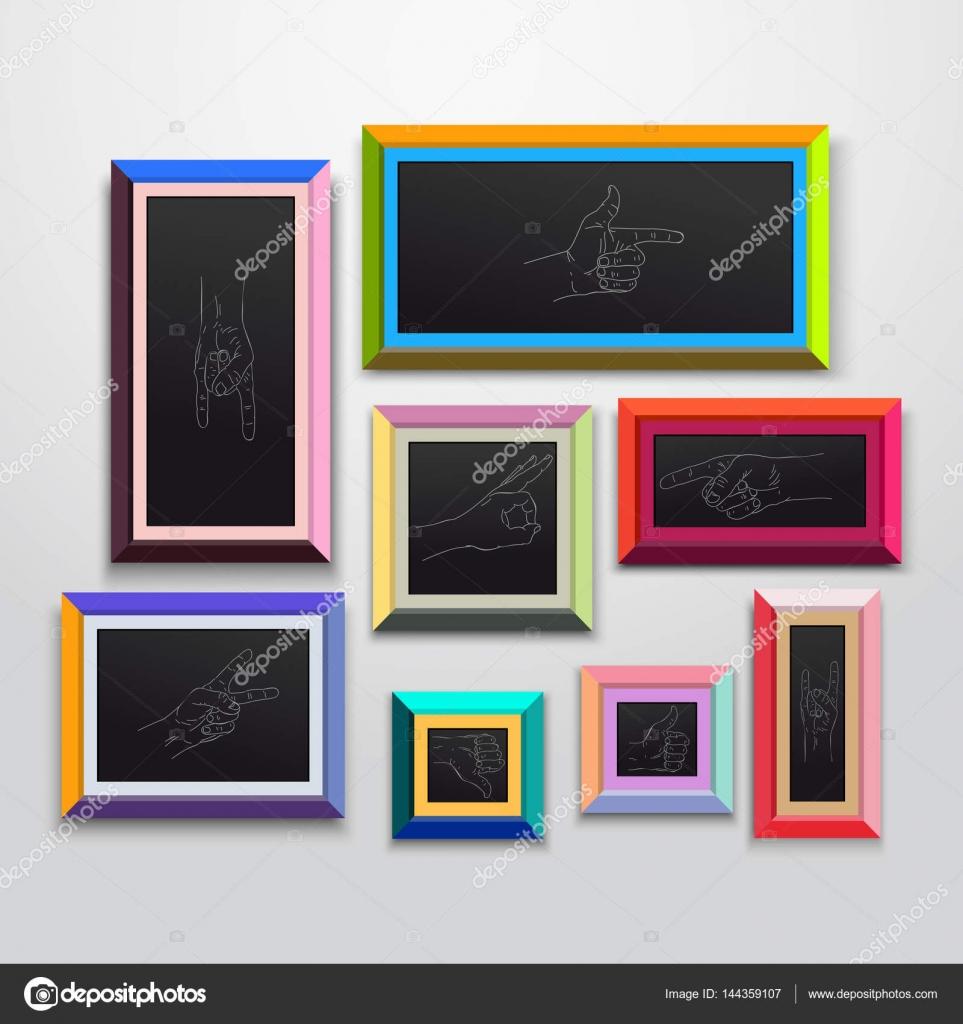 Farbige Bilderrahmen, Mustersatz, isoliert an einer Wand ...