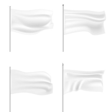 Set of white waving flag template. Clean horizontal canvas, for your design. Empty blank of flag on flagpole. Vector illustration. Isolated on white background.