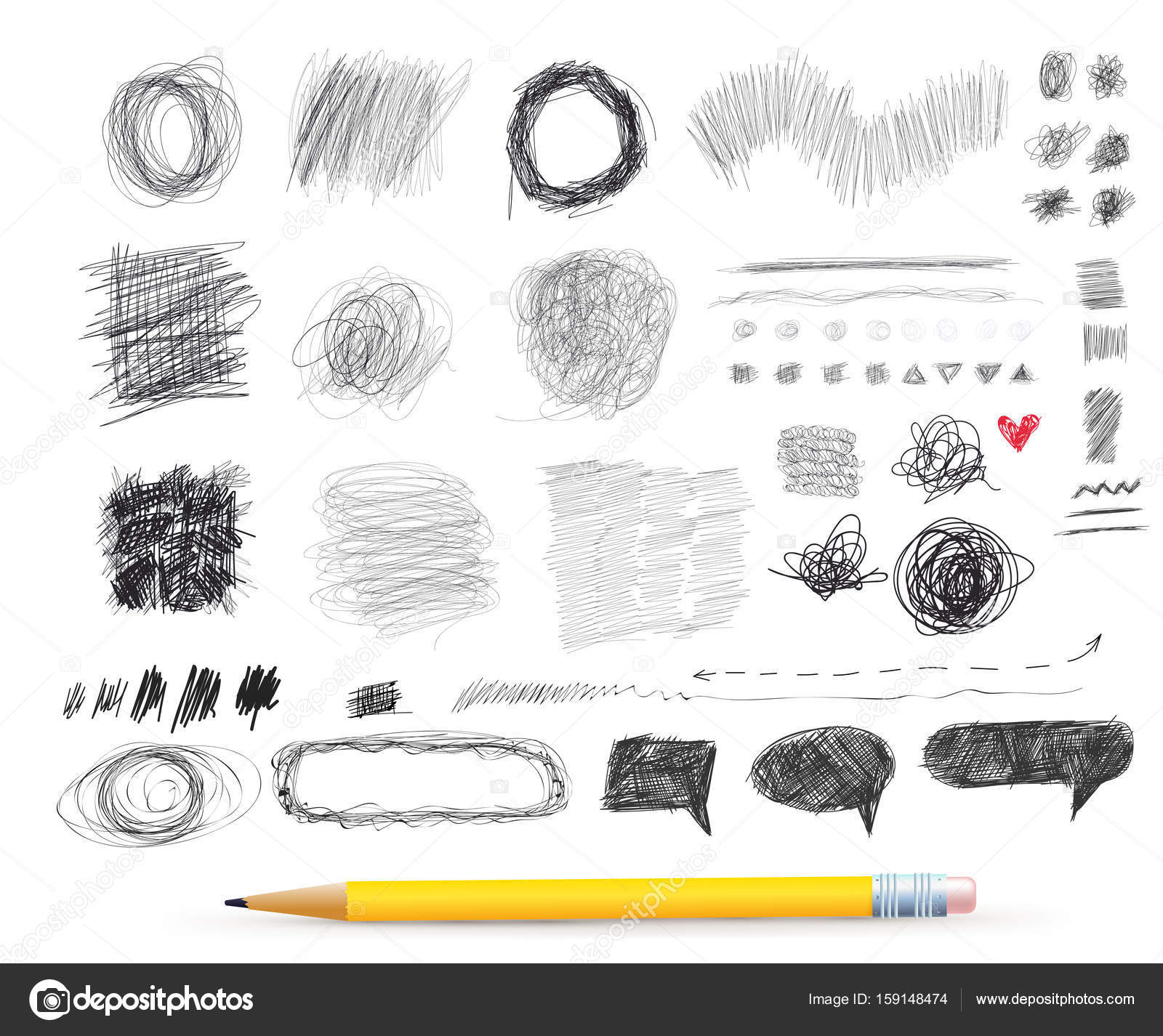 Abstract chaotic round sketch pencil drawing for your design freehand drawing vector illustration isolated on white background stock illustration