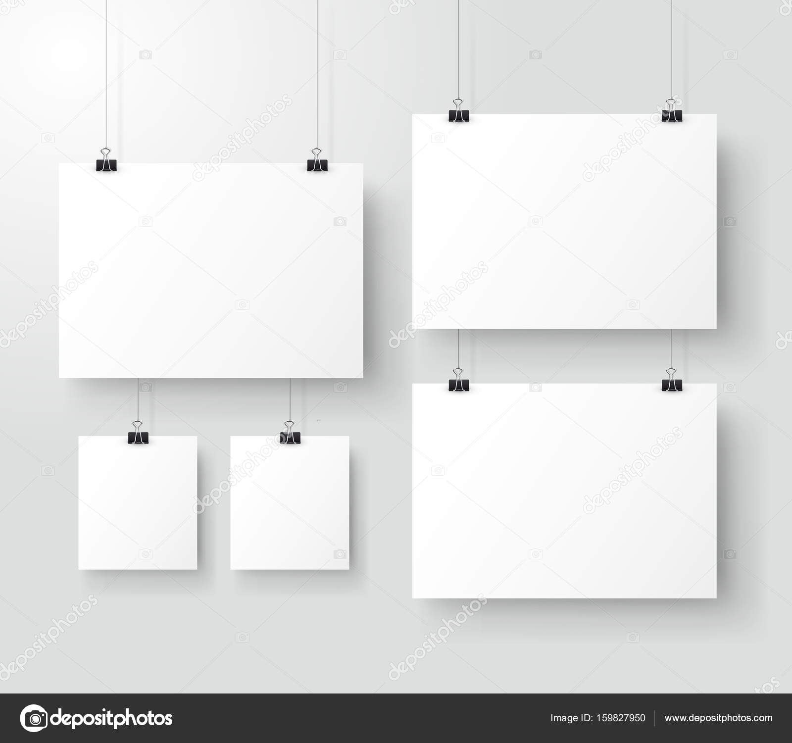 white poster hanging on binder grey wall with mock up empty paper