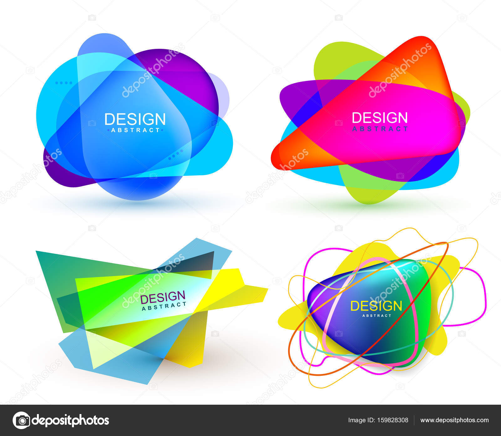 Set of colorful abstract banners shape  Graphic overlay