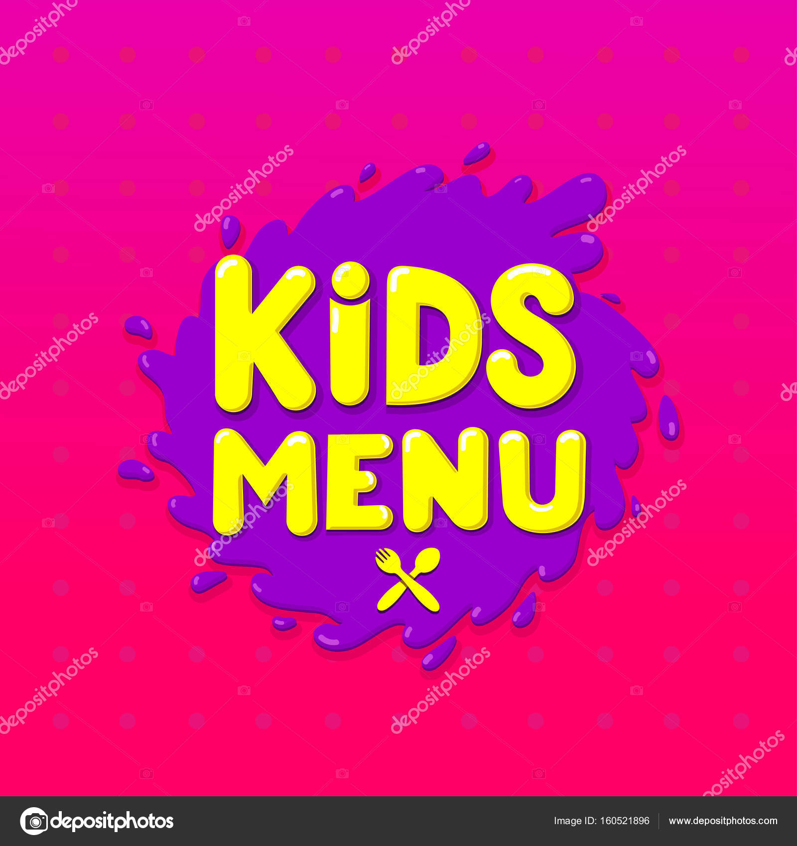 Kids Menu Banner Design Vector Illustration Isolated On Pink Background For Your