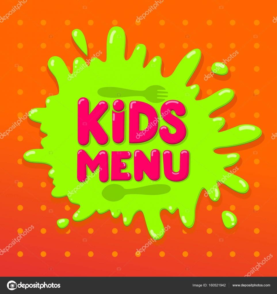 Kids Menu Banner Design Vector Illustration Isolated On Orange Background For Your