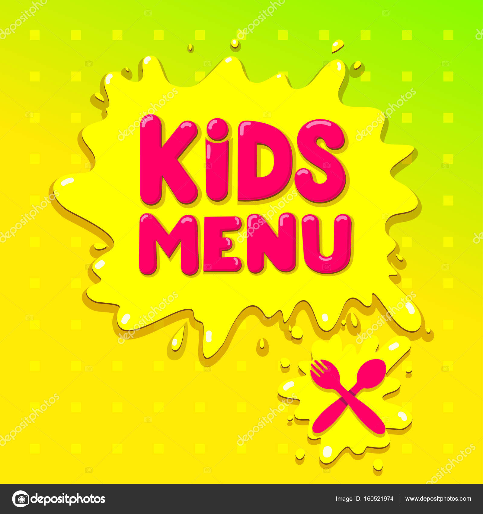 Kids Menu Banner Design Vector Illustration Isolated On Green Background For Your