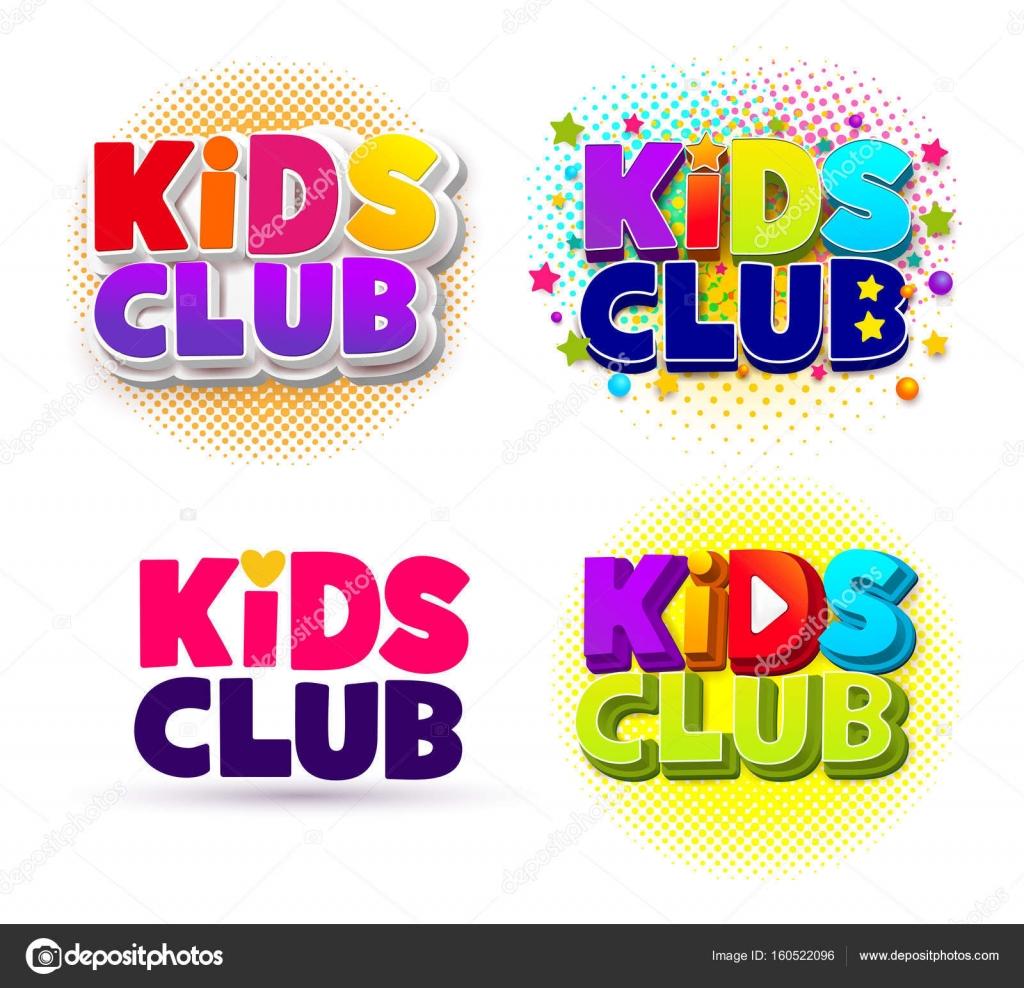 Set Of Kids Club Logo Letter Sign Poster Vector Illustration Eps