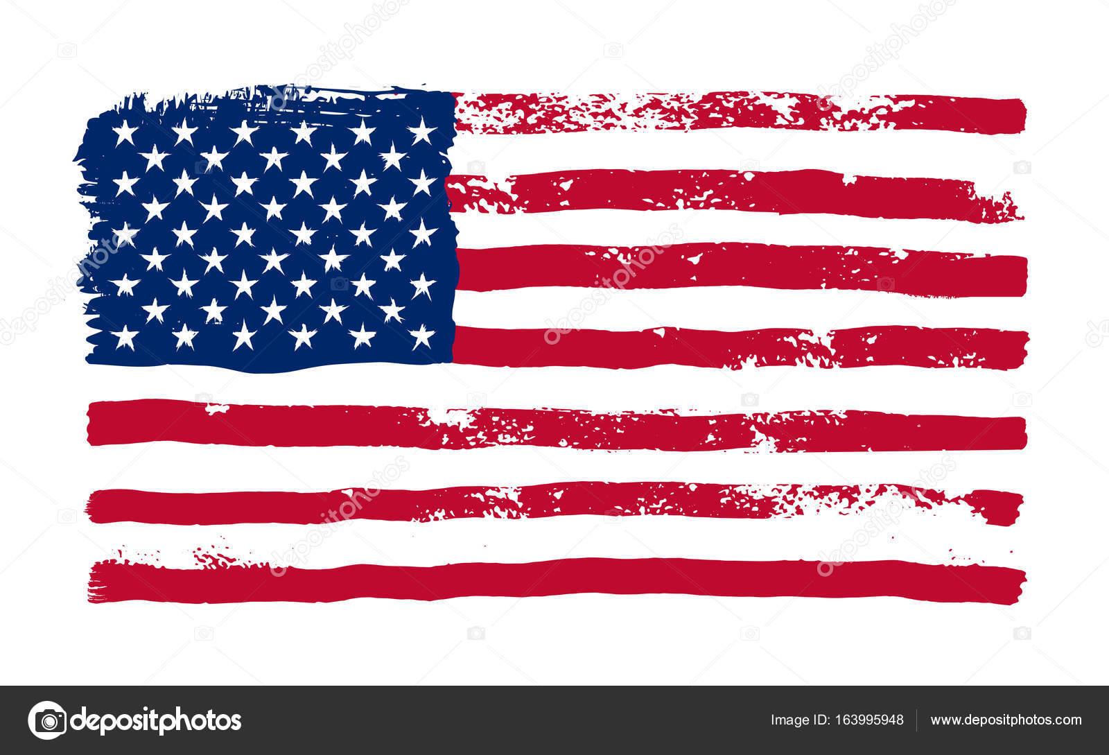 Grunge American Flag. Watercolor Flag Of USA. Vector