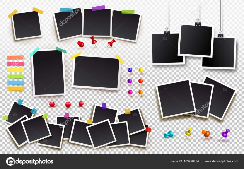 Set of square vector photo frames on sticky tape, pins and rivets ...