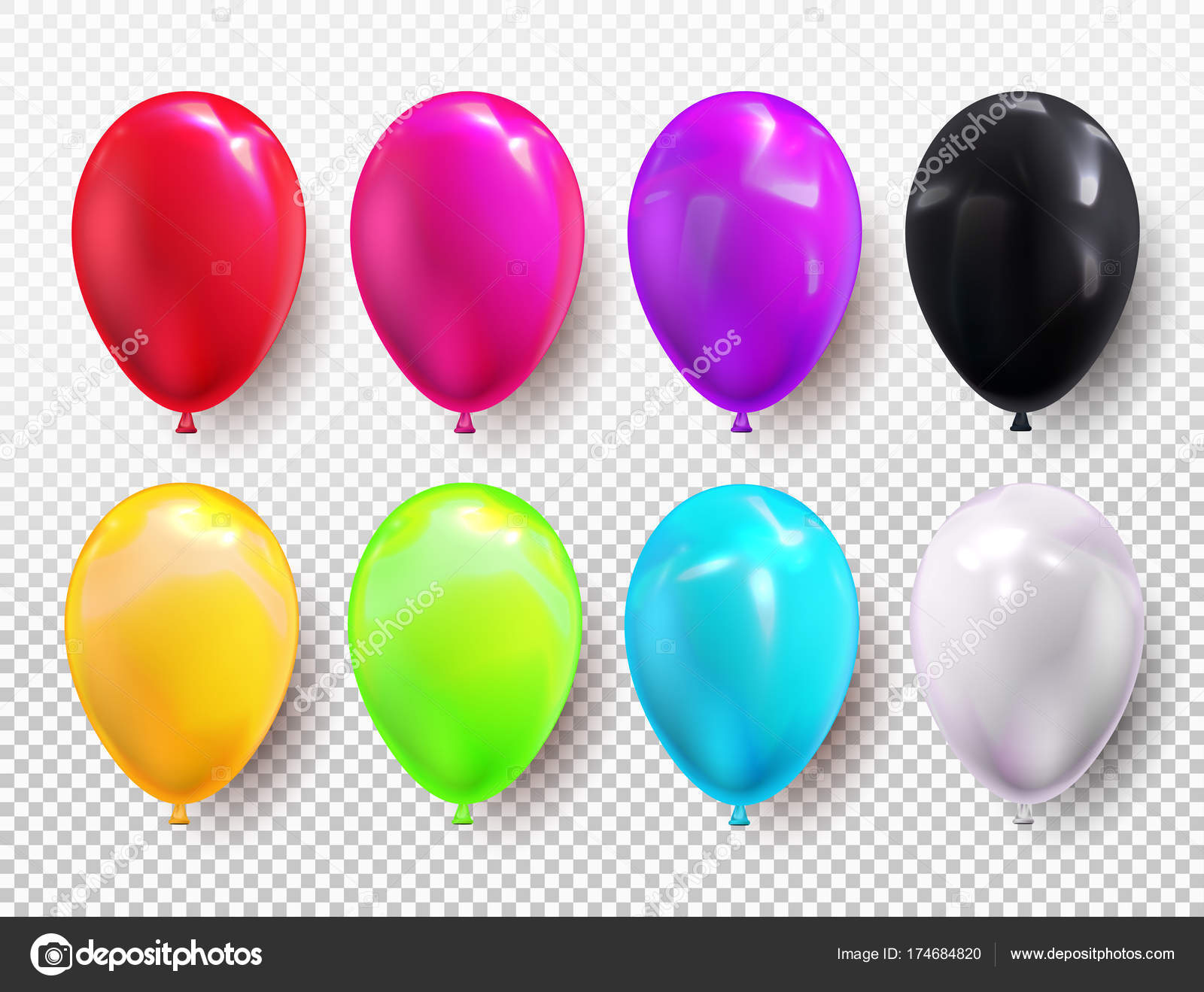 Heliumballon festgelegten Farben. Geburtstag Ballons rot, gelb, grün ...