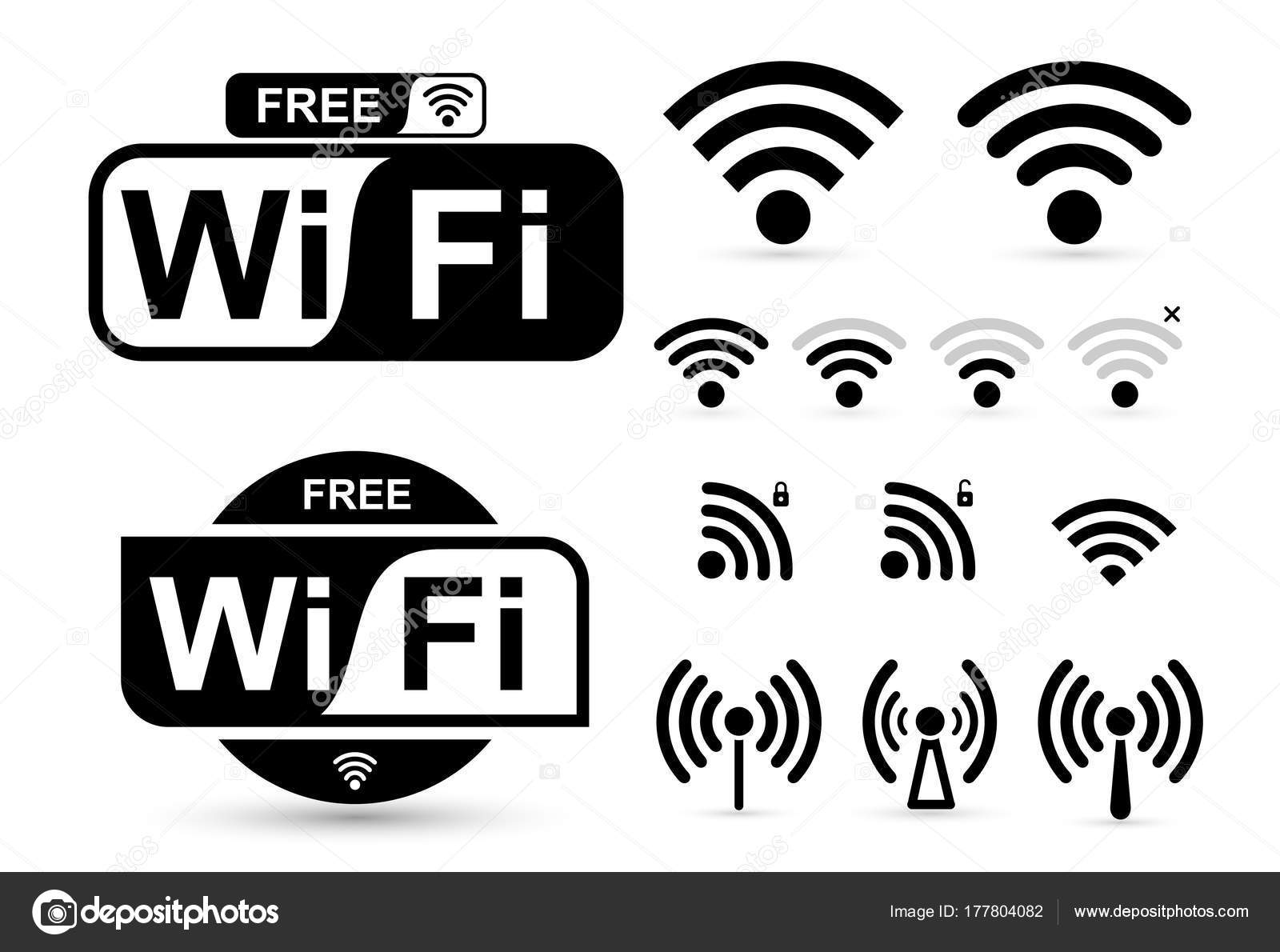 Set Of Free Wifi And Zone Sign Remote Access And Radio Waves