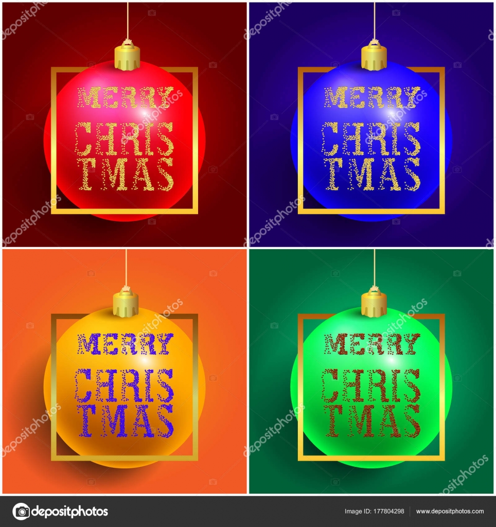 Set Of Merry Christmas Ball With Golden Modern Typography Greetings
